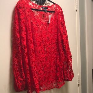 A red lace blouse